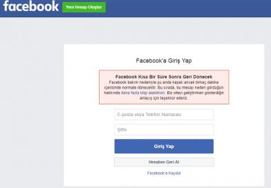 Facebook Bakım Nedeniyle Kapalı Hatası